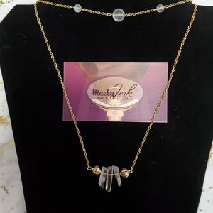 Gold 2 in 1 quarts necklace